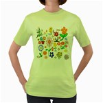 Summer Florals Women s T-shirt (Green)