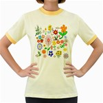 Summer Florals Women s Ringer T-shirt (Colored)