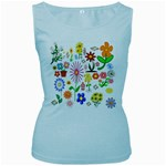 Summer Florals Women s Tank Top (Baby Blue)