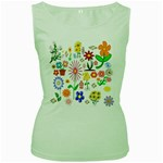 Summer Florals Women s Tank Top (Green)
