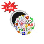 Summer Florals 1.75  Button Magnet (10 pack)