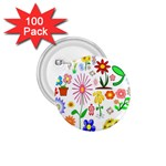 Summer Florals 1.75  Button (100 pack)