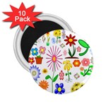Summer Florals 2.25  Button Magnet (10 pack)