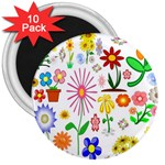 Summer Florals 3  Button Magnet (10 pack)
