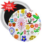 Summer Florals 3  Button Magnet (100 pack)
