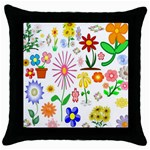 Summer Florals Black Throw Pillow Case