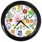 Summer Florals Wall Clock (Black)