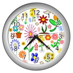 Summer Florals Wall Clock (Silver)