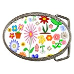 Summer Florals Belt Buckle (Oval)