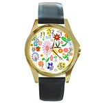 Summer Florals Round Leather Watch (Gold Rim)