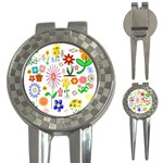 Summer Florals Golf Pitchfork & Ball Marker