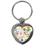 Summer Florals Key Chain (Heart)