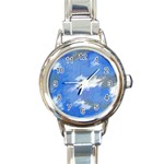 Abstract Clouds Round Italian Charm Watch