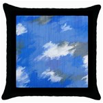 Abstract Clouds Black Throw Pillow Case