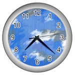 Abstract Clouds Wall Clock (Silver)