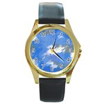 Abstract Clouds Round Leather Watch (Gold Rim)
