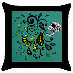 Skull Scream Black Throw Pillow Case by Contest1871380