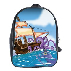 Piratepirate Ship Attacked By Giant Squid  School Bag (large) by NickGreenaway