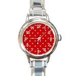 White Stars On Red Round Italian Charm Watch