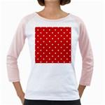White Stars On Red Women s Long Cap Sleeve T-Shirt (White)