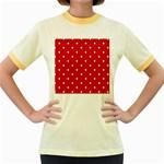 White Stars On Red Women s Ringer T-shirt (Colored)
