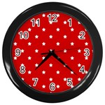 White Stars On Red Wall Clock (Black)