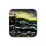 Cosgriff Point Lighthouse -AveHurley ArtRevu.com- Rubber Square Coaster (4 pack)