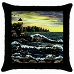 Cosgriff Point Lighthouse -AveHurley ArtRevu.com- Throw Pillow Case (Black)