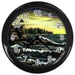 Cosgriff Point Lighthouse -AveHurley ArtRevu.com- Wall Clock (Black)