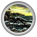 Cosgriff Point Lighthouse -AveHurley ArtRevu.com- Wall Clock (Silver)