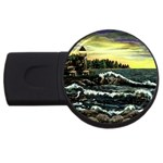 Cosgriff Point Lighthouse -AveHurley ArtRevu.com- USB Flash Drive Round (2 GB)