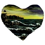 Cosgriff Point Lighthouse -AveHurley ArtRevu.com- Large 19  Premium Heart Shape Cushion