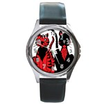 Cool Cats Round Leather Watch (Silver Rim)