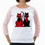 Cool Cats Women s Long Cap Sleeve T-Shirt (White)