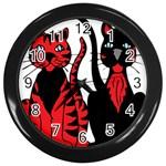 Cool Cats Wall Clock (Black)