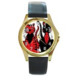 Cool Cats Round Leather Watch (Gold Rim)