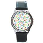 Pastel Bubbles Round Leather Watch (Silver Rim)