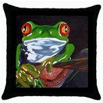Tree Frog Throw Pillow Case (Black)