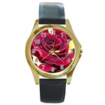 Rose 2 Round Gold Metal Watch
