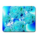Blue Ice Crystals, Abstract Aqua Azure Cyan Small Mousepad Front
