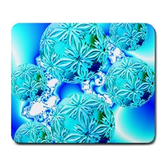 Blue Ice Crystals, Abstract Aqua Azure Cyan Large Mousepad from Diane Clancy Art Front