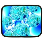 Blue Ice Crystals, Abstract Aqua Azure Cyan Netbook Case (Large)