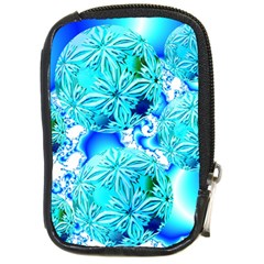 Blue Ice Crystals, Abstract Aqua Azure Cyan Compact Camera Leather Case from Diane Clancy Art Front
