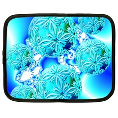 Blue Ice Crystals, Abstract Aqua Azure Cyan Netbook Case (XL) from Diane Clancy Art Front