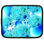 Blue Ice Crystals, Abstract Aqua Azure Cyan Netbook Case (XL) Front