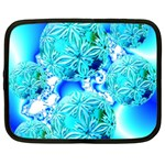 Blue Ice Crystals, Abstract Aqua Azure Cyan Netbook Case (XXL) Front