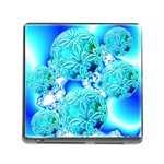 Blue Ice Crystals, Abstract Aqua Azure Cyan Memory Card Reader with Storage (Square)