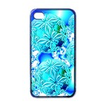 Blue Ice Crystals, Abstract Aqua Azure Cyan Apple iPhone 4 Case (Black)