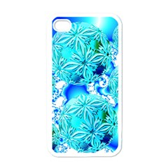 Blue Ice Crystals, Abstract Aqua Azure Cyan Apple iPhone 4 Case (White) from Diane Clancy Art Front