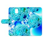 Blue Ice Crystals, Abstract Aqua Azure Cyan Samsung Galaxy Note 3 Leather Folio Case